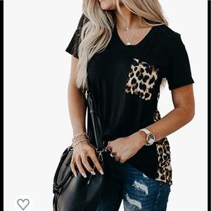 NWT Blooming Jelly Leopard Print Loose V Neck Top